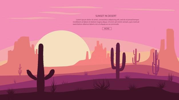 Pustynny Krajobraz Kaktus I Góry, Zachód Słońca W Armacie, Ilustracyjna Scena Z Kamieniami I Piaskiem. Premium Wektorów