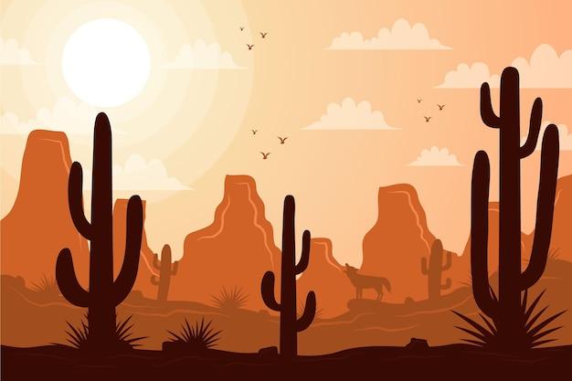 Pustynny Krajobraz W Tle Do Wideokonferencji Darmowych Wektorów
