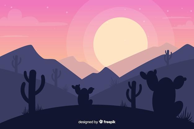 Pustynny Krajobraz Z Zmierzchem I Kaktusem Darmowych Wektorów