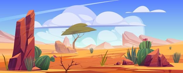 Pustynny Krajobraz Ze Skałami, Tropikalnym Drzewem, Trawą I Kwitnącymi Kaktusami. Darmowych Wektorów