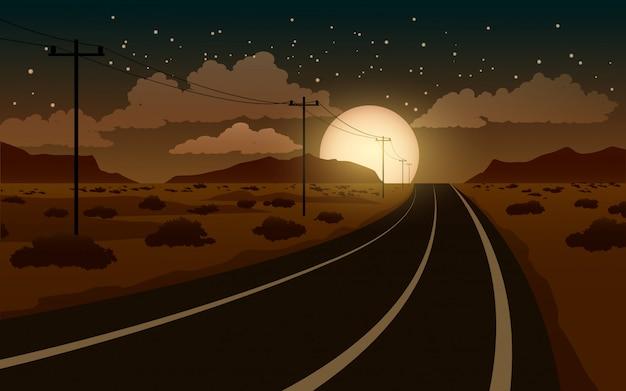 Pustynny Nocny Krajobraz Z Drogi I Pełni Księżyca Premium Wektorów