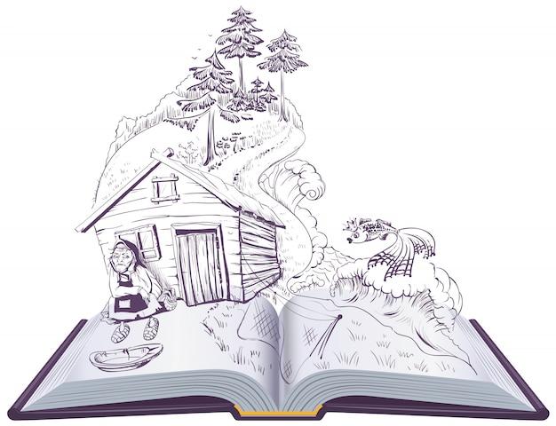 Puszkin Opowieść O Rybaku I Złotej Rybce. Otwórz Książkę Ilustracji Premium Wektorów