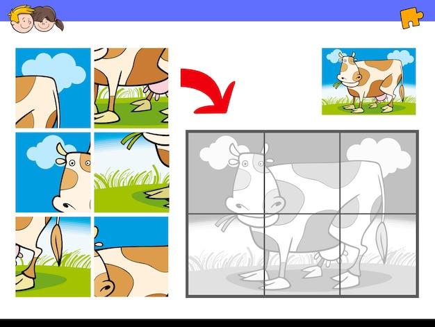 Puzzle Z Charakterem Farmy Krów Premium Wektorów