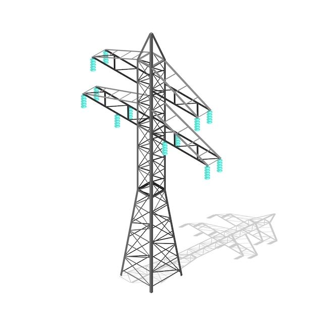Pylon Wysokiego Napięcia. Wieża Transmisyjna. Premium Wektorów