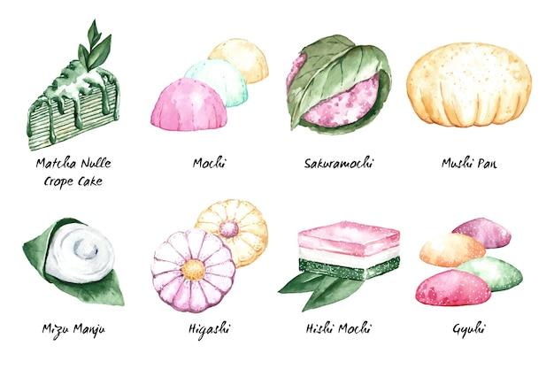 Pyszna Japońska Kolekcja Deserów W Stylu Przypominającym Akwarele Darmowych Wektorów