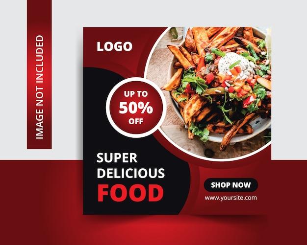 Pyszna Restauracja W Mediach Społecznościowych Premium Wektorów