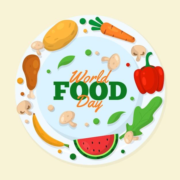 Pyszna żywność Na światowy Dzień Jedzenia Darmowych Wektorów