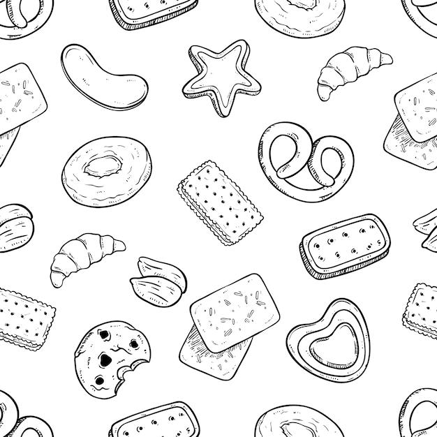 Pyszne Ciasteczka Wzór Z Ręcznie Rysowane Lub Styl Szkicu Premium Wektorów