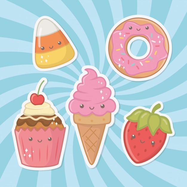 Pyszne i słodkie produkty kawaii znaków Darmowych Wektorów