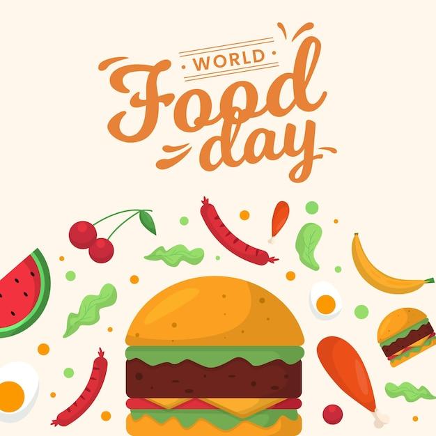 Pyszne Jedzenie Na światowy Dzień Jedzenia Darmowych Wektorów