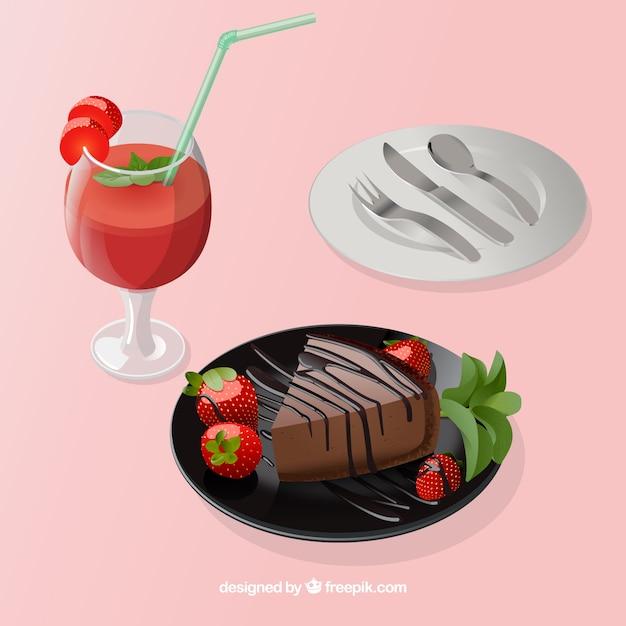 Pyszne jedzenie składu w eleganckim stylu Darmowych Wektorów