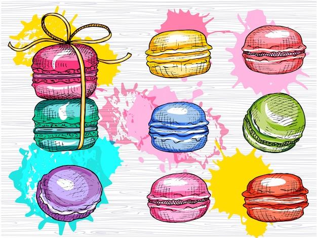 Pyszne Macarons Zestaw Na Białym Tle. Kolekcja Kolorowych Macarons. Słodki, Kolor, Ciasta, Obiad, Przerwa. Ręcznie Rysowane Ilustracji. Premium Wektorów
