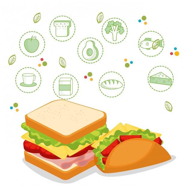 Pyszne menu fast food Darmowych Wektorów