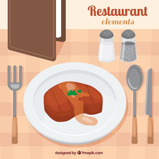 Pyszne mięso w restauracji Darmowych Wektorów