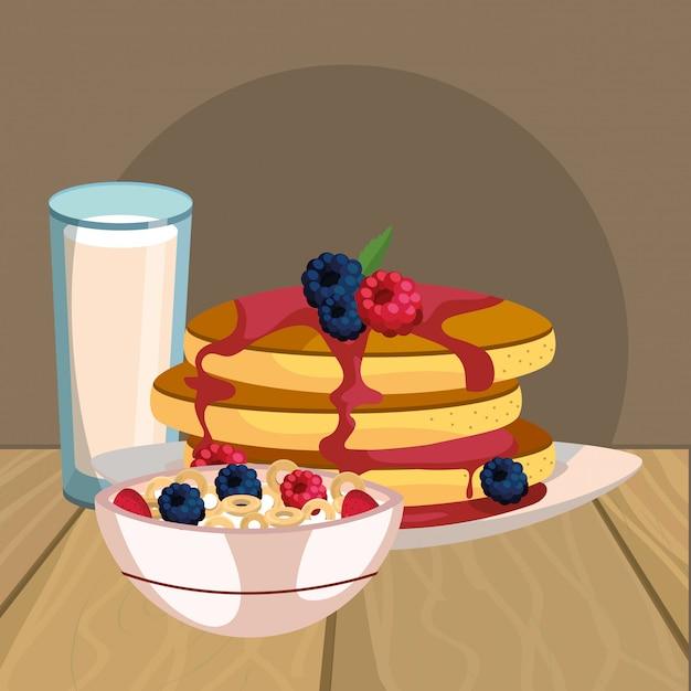Pyszne Smaczne śniadanie Kreskówka Premium Wektorów