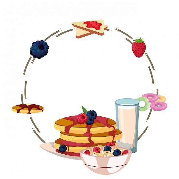 Pyszne śniadanie Pyszne Rama Kreskówka Premium Wektorów