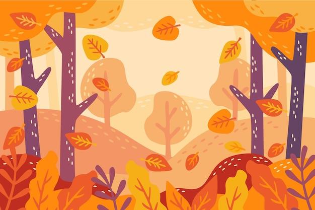 Pyszne Złote Liście Ręcznie Rysowane Jesień Tło Darmowych Wektorów