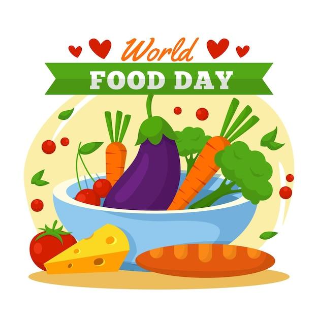 Pyszny Artykuł Spożywczy Na światowy Dzień Jedzenia Premium Wektorów