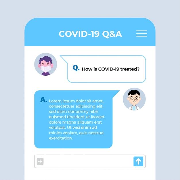 Pytania I Odpowiedzi Aplikacja Ekranowa Covid-19 Premium Wektorów