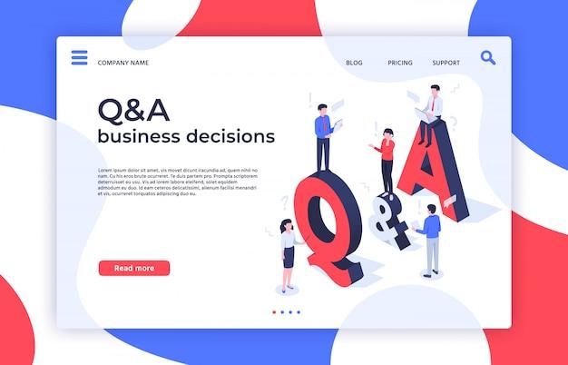 Pytania I Odpowiedzi. Znajdź Decyzję, Rozwiązywanie Problemów I Kontrolę Jakości Decyzji Biznesowych Na Stronie Docelowej Izometryczny Ilustracja Premium Wektorów