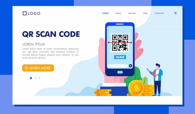 Qr scan code szablon strony docelowej ilustracji Premium Wektorów