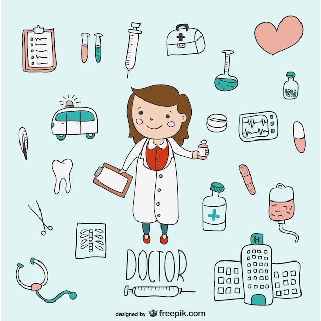 Ręcznie rysowane ilustracje medyczne Darmowych Wektorów