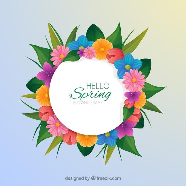 Ręcznie rysowane wiosna kwiatowy ramki Darmowych Wektorów