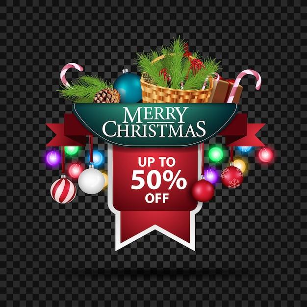 Rabat świąteczny Z Koszem Do 50% Zniżki Premium Wektorów