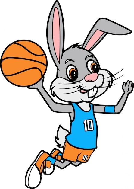 Rabbit slam dunk, ilustracja sztuki linii koszykówki do kolorowania książki lub strony Premium Wektorów