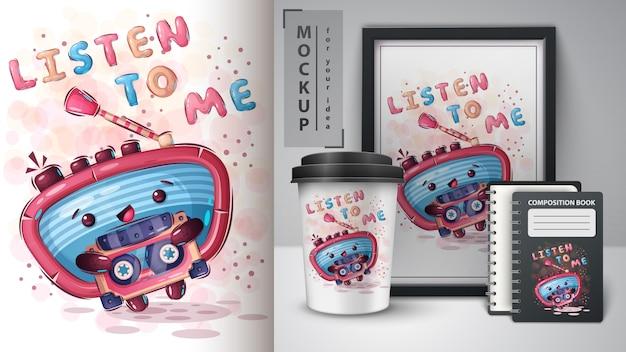 Radio Z Plakatem Kasetowym I Merchandisingiem Premium Wektorów
