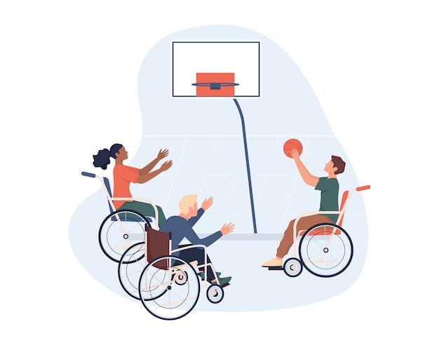 Radosne Osoby Niepełnosprawne Na Wózku Inwalidzkim Grające W Koszykówkę. Sportów Adaptacyjnych Dla Osób Niepełnosprawnych. Premium Wektorów