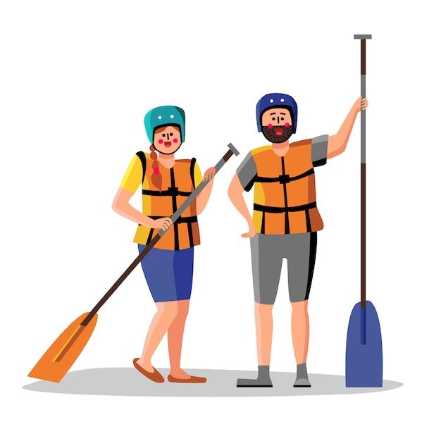 Rafting Ludzie Noszą Kamizelkę Ratunkową Trzymaj Wiosło Premium Wektorów