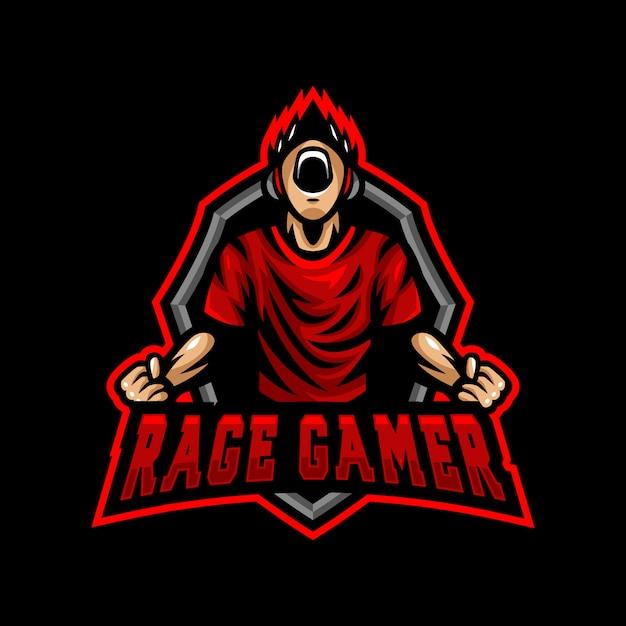 Rage Gamer Maskotka Logo Esport Gaming Premium Wektorów