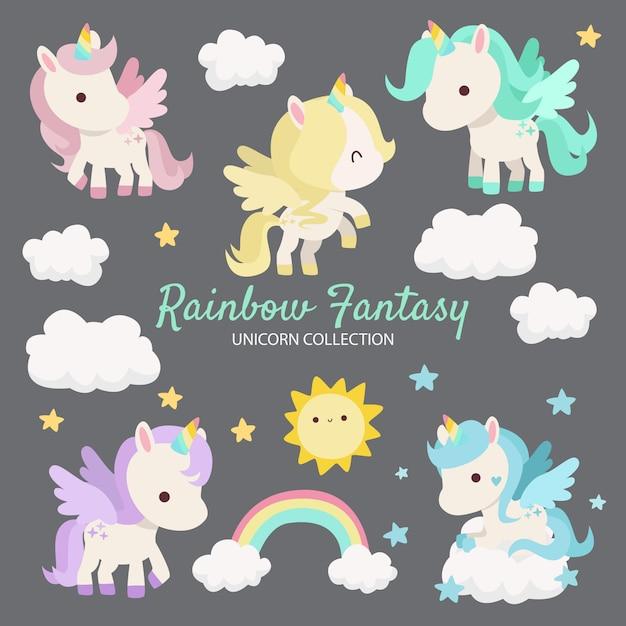 Rainbow fantasy unicorn postacie Premium Wektorów