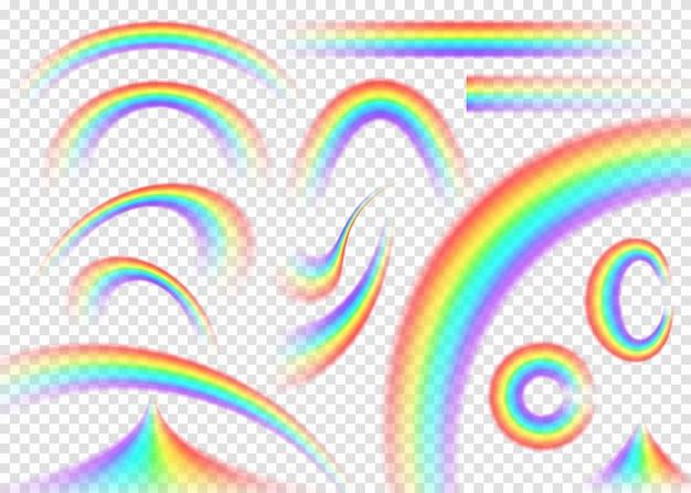 Rainbow Zestaw Na Białym Tle W Innym Kształcie. Darmowych Wektorów