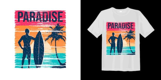 Rajski Styl Surfowania O Zachodzie Słońca Z Nadrukowaną Sylwetką Koszulki Z Nadrukiem Na Dłoni Premium Wektorów