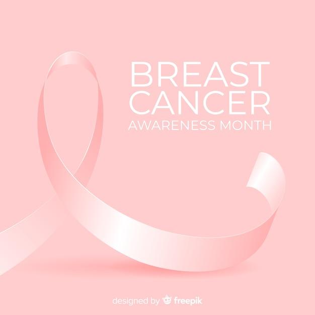 Rak piersi świadomości miesiąc tło z różową wstążką Darmowych Wektorów