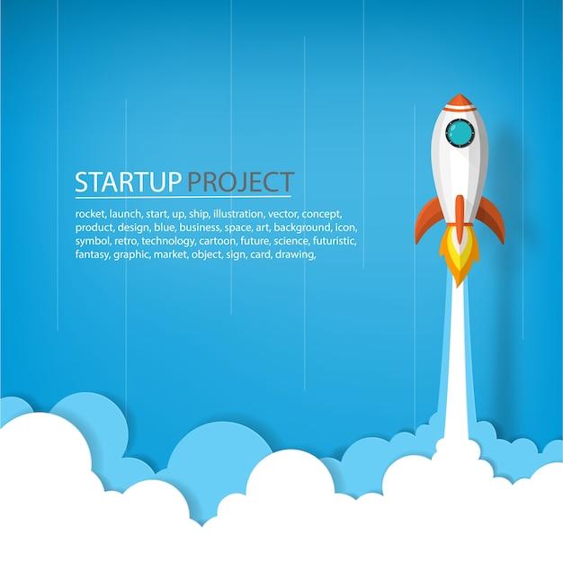 Rakieta kosmiczna do nieba w koncepcji uruchomienia biznesu lub projektu Premium Wektorów