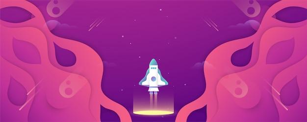 Rakieta leci w przestrzeni kosmicznej wszechświata. Premium Wektorów