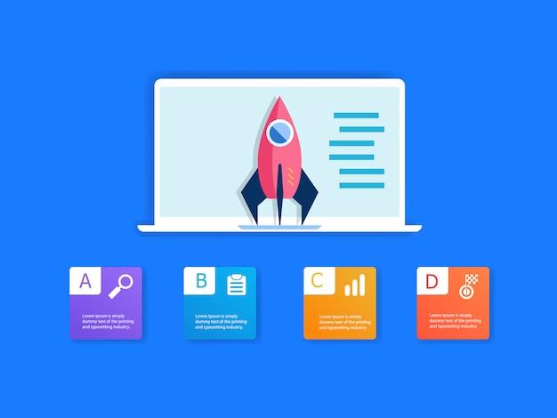 Rakieta na laptopie i infografiki 4 kroki Premium Wektorów