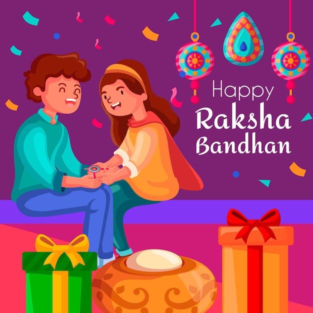 Raksha Bandhan Tła Pojęcie Premium Wektorów