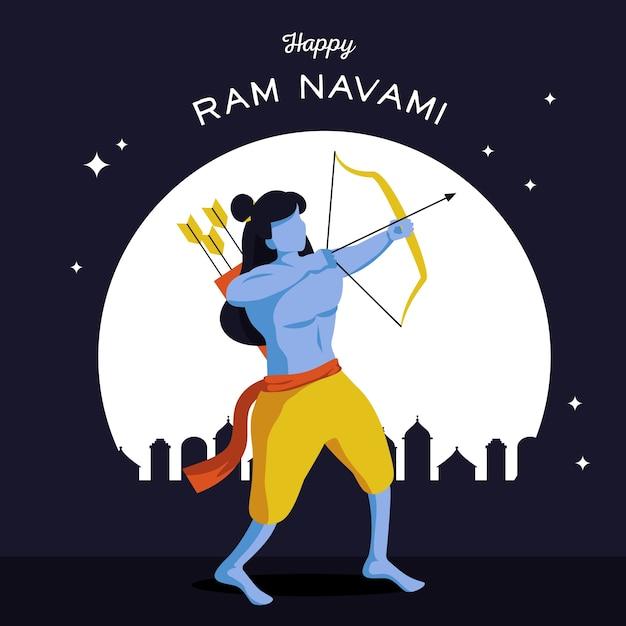 Ram Navami Banner Z łucznikiem Darmowych Wektorów