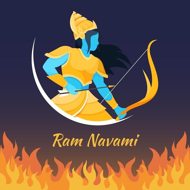 Ram Navami Z łuczniczką Darmowych Wektorów