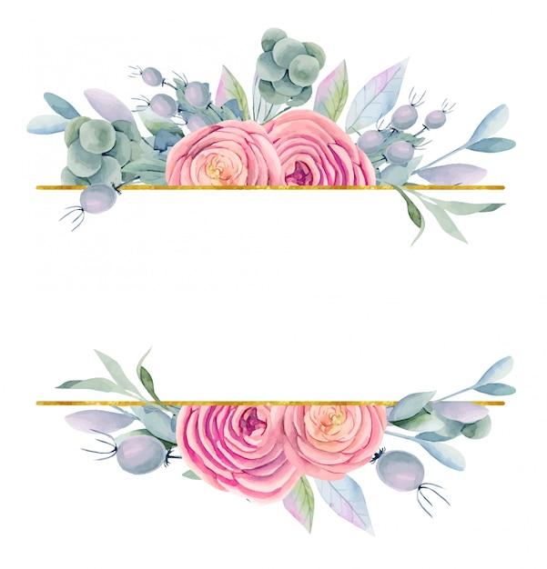 Rama Akwarela Piękne Róże, Zielone Liście I Jagody W Odcieniach Fioletu, Złota I Różu Premium Wektorów