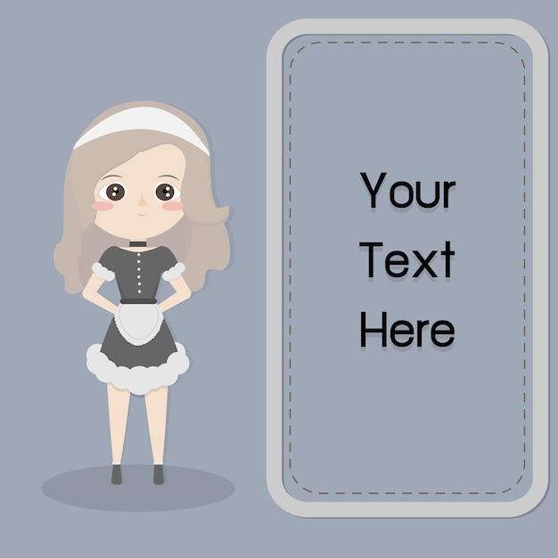Rama Dla Tekstu Z Słodkie Dziewczyny W Pokojówka Wektor Wzór