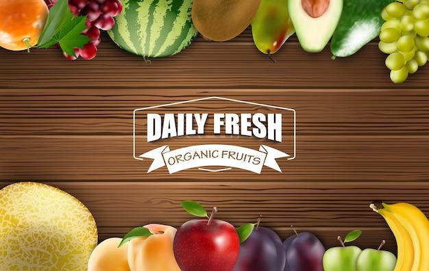 Rama dzienne świeże organicznie owoc na drewnianym tle Premium Wektorów