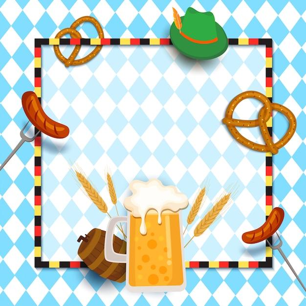 Rama Festiwalu Oktoberfest Z Napojem I Jedzeniem Na Niebiesko. Premium Wektorów
