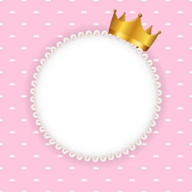 Rama Koła Princess Crown Z Perłami Premium Wektorów