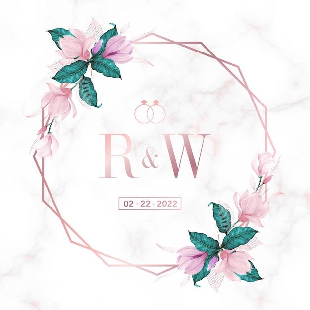 Rama Koło W Kolorze Różowego Złota Z Kwiatowym Na Marmurowym Tle Logo Monogram ślubu I Karta Zaproszenie Darmowych Wektorów