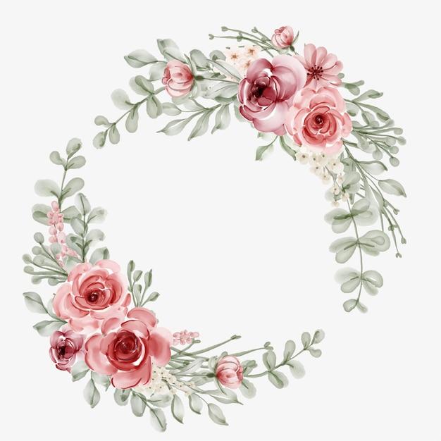 Rama Kwiat Akwarela Z Okrągłym Obramowaniem Darmowych Wektorów